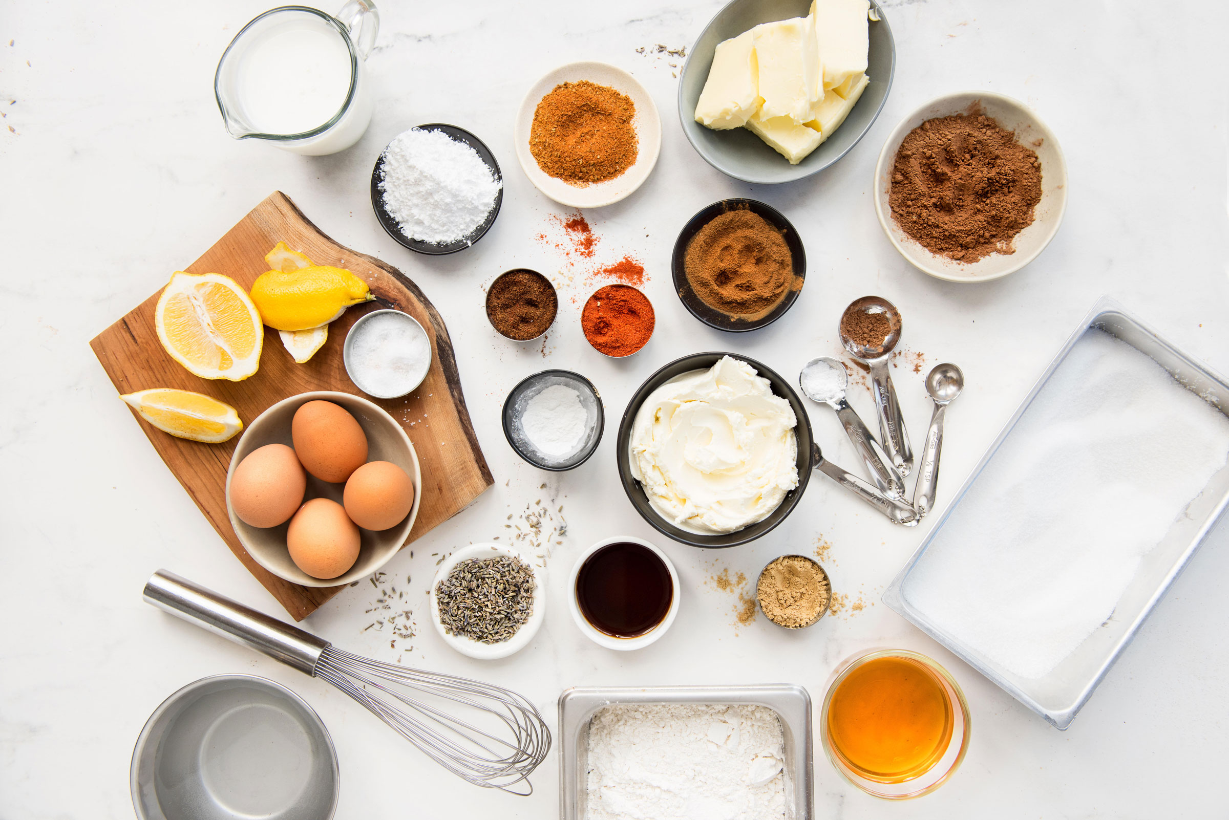Conestoga Farms Eggs lay on a table with baking ingredients